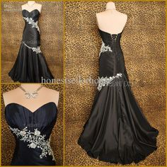 Wholesale Prom Dresses - Buy Fabulous Real Picture Sweetheart Neckline Pleats Applique Taffeta Black Mermaid Prom Dresses Lace Up Party Dress Evening Gowns, $139.0 | DHgate