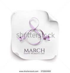 March 8 greeting card. Background template for International Women's Day. Vector illustration. White curved paper banner.