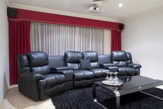Top 70 Best Home Theater Seating Ideas - Movie Room Designs Home Cinema Room, Home Theater Rooms, Home Theater Seating, Small Movie Room, Small Game Rooms, Small Home Theaters, Best Home Theater, Furniture Layout, Cool House Designs