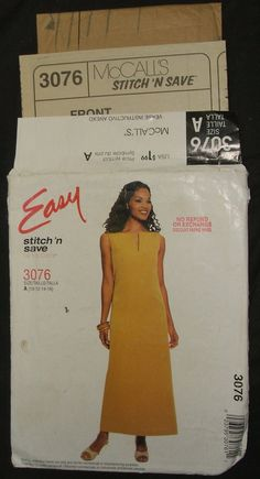 #McCalls Sewing #Pattern 3076 Uncut Misses Sleeveless Full Length #Dress Womens Size 10 to 16 Maxi-Dress Easy Stitch n Save #DIY #Fashion Design by ManHoard
