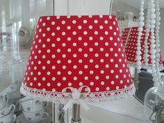 Handmade red polkadot lampshade with lace