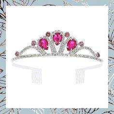 CrownUS Princess Queen Tiara Rhinestone Bridal Wedding Crown, Metal Headband Headpiece, Prom Party Birthday Hair Accessories for Women & Girls (Pink) (This is an affiliate pin) #haircare #headbands