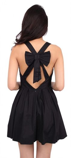The BEST little black dress Ive seen!  Black Bow Back Dress