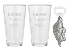 """University of Arkansas """"Never Yield"""" Pub Glass/Opener Set from Arthur Court in Gainesvile, FL from Kitchen & Spice"""