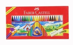 Erasable Triangular Crayons - Set of 24 by Faber Castell. $23.33. Weight: 0.4 lbs. Measurements: packaging 11 x 6 inches. 24 Erasable Crayons      ⋅ washable off walls floors and most fabrics   ⋅ can be sharpened to a point with a pencil sharpener   ⋅ 8 mm thick   ⋅ does not roll   ⋅ awesome for rubbings   ⋅ more color pigments and less wax results in brilliant colors   ⋅ smooth texture   ⋅ no waxy build-up   ⋅ non toxic   ⋅ acid free   ⋅ conforms to ASTM D-4236