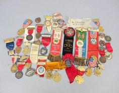 Antique-c1900-Celluloid-Fireman-Ribbons-Medals-Badges-Hose-Co-Hook-Ladder-Co
