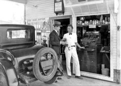 Nielson's Super Service Station at 3436 West 1st Street in Los Angeles, California at some point in 1928.