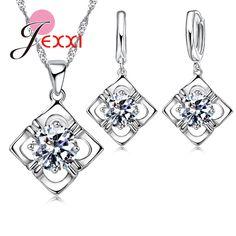 PATICO New Fashion Jewelry For Women Square 925 Sterling Shiny Zircon Pendant Jewelry Set Necklace Female Body Chain Silver
