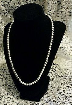 Vintage Signed Napier Shiny Silver Toned Bead Necklace