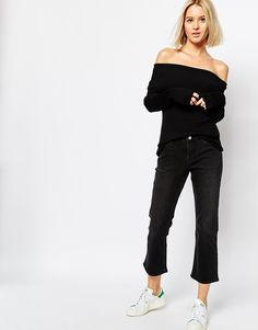 Image 1 of Weekday Cut Mid Rise Kick Flare Crop Jeans