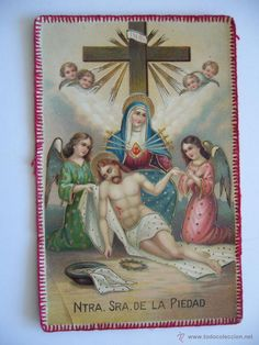 Postal Especial. Bordada. Religiosa. Nuestra Sra. de la Piedad. Circulada.