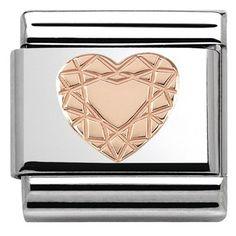 Nomination Rose Gold Diamond Heart Charm | Argento.co.uk