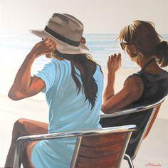La risée - Nicolas Odinet #chapeau #plage #beach #hat #women #sitting #seaside #light #Odinet #peinture #oilpainting #art #Hopper #Light #fineart #artcontemporain #art #marciano #gallery #galerie #Paris #rivoli #galeriemarciano