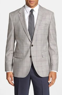 BOSS Trim Fit Plaid Wool Sport Coat Executive Outfit, Men Suit Shoes, Suit Fashion, Mens Fashion, Mens Sport Coat, Business Dresses, Fashion Essentials, Suit And Tie, Well Dressed Men