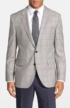 BOSS Trim Fit Plaid Wool Sport Coat