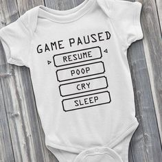 Baby Pause Menu Gamer Bodysuit Video Game Bodysuit Gamer Baby Funny Bodysuit New Baby Gift Baby Shower Gifts New Mother Gifts Cute Boy Onesie, Baby Bodysuit, Onesies, Cute Baby Gifts, New Baby Gifts, Baby Gifts For Boys, Baby Necessities, Baby Shirts, Cute Baby Clothes