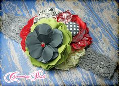 Giggle Moon Hair Bow Red Grey Lime Holiday Hair by CrowningPetals, $19.50