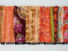Multi Color Strip Valance No 1  Black Pom Pom by TallulahSophie, $50.00