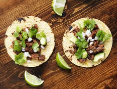 Overhead view of two authentic street tacos by Joshua Resnick