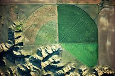 One of the world's greatest aerial photographers to be exhibited in London for the first time.  Marias River drainage and pivot irrigator, Loma area, Montana, USA