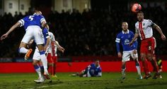 25 January 2014 In his final game for the Blues, Johnny Heitinger meets a spectacular over-head kick cross from Kevin Mirallas to head Everton's third
