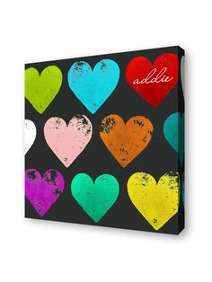 Take a look at this Lex Modern Rainbow Hearts Personalized Wall Art by Lex Modern on today! Personalised Canvas, Personalized Wall Art, Diy Wall Art, Canvas Wall Art, Canvas Paintings, Diy Artwork, Blank Canvas, Easy Paintings, Rainbow Heart
