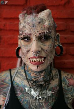 ✯ Modern Vampire: Maria Jose Cristerna is a mother of four, tattoo artist and former lawyer. 90 percent of Maria's body is tattooed and modified with subcutaneous implants and therefor she is also called Vampire Woman.✯
