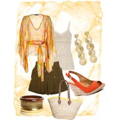 Orange and Gold for summer, created by lkm555 on Polyvore