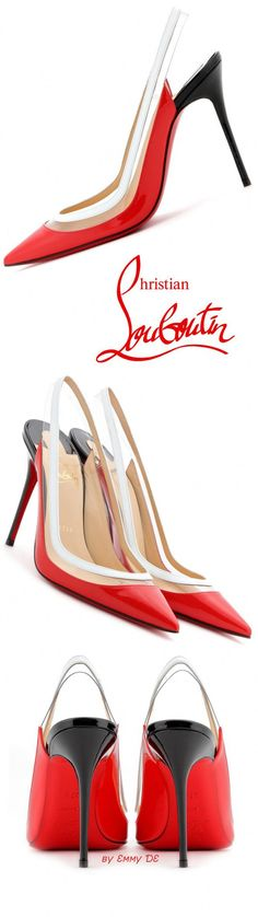 Christian Louboutin ~ 'Paulina' Red + White Slingback Pumps 2015