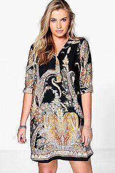 Plus Eveline Paisley Border Shirt Dress