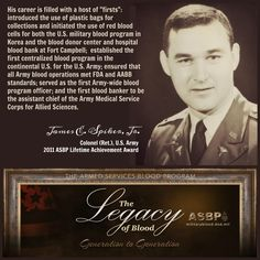 Part of Our #Legacy: 2011 @militaryblood LAA recipient @USArmy Col. (Ret) Spiker. #legacyofblood #military #gen2gen