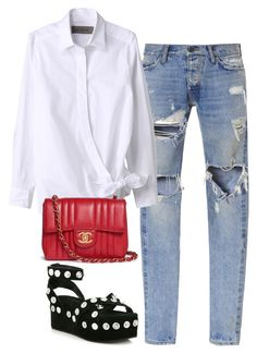 """""""Untitled #1211"""" by deamntr ❤ liked on Polyvore featuring Gosha Rubchinskiy, Chanel and Alexander Wang"""