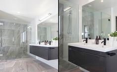 A classy beautifully tiled shower and bathroom area. Bathroom Lighting, Classy, Shower, Mirror, House, Furniture, Home Decor, Bathroom Light Fittings, Rain Shower Heads
