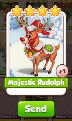 Majestic Rudolph Card - Christmas Set - from Coin Master Cards - Tassie Books Game Cards, Card Games, Christmas Settings, Christmas Cards, Electronic Cards, Sale Purchase, Holiday Tree, Online Games, Coins