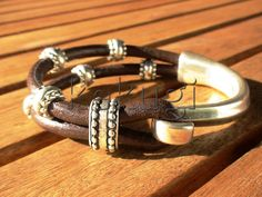 women  brown leather bracelet and sterling silver plated half cuff button clasp with silver beads on Etsy, $26.00