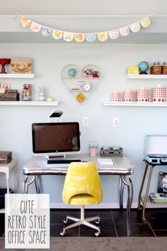 Cute Retro Style Office Space - love the bright yellow chair!