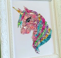 Unicorn gift framed unicorn picture Swarovski crystal button