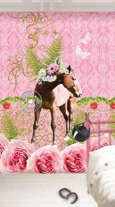 """#Paardenbehang voor een #meisjesslaapkamer. Super tof behang van WannaHaves - dessin """"Sweety""""- DI2021"""