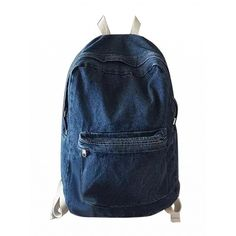 Choies Dark Blue Pocket Front Back To School Denim Backpack (46 AUD) ❤ liked on Polyvore featuring bags, backpacks, blue, blue denim backpack, blue bag, rucksack bags, day pack backpack and daypack bag