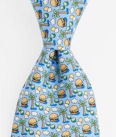 The pattern on this tie is completely inappropriate.  Save the burger and palm tie for retirement.