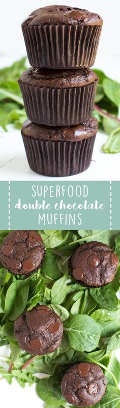 Superfood Double Chocolate Muffins are packed with leafy greens, banana, chocolate and Greek yogurt! You will never know that two heaping cups of greens are hidden in these chocolate muffins. @organicgirl