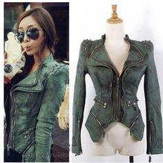 New fashion Star jeans women Punk spike studded shrug shoulder Denim cropped VINTAGE jacket coat S M L XL $51.56