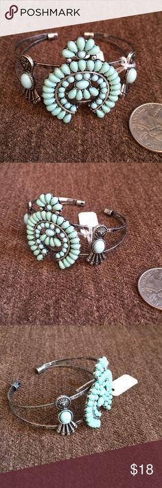 Squash Blossom Cuff Bracelet Southwest turquoise squash Blossom cuff bracelet. Western, rodeo, cowgirl southern gypsy Jewelry Bracelets