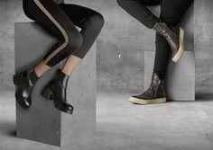 Damskie botki na platformie i masywnym obcasie, męskie botki w sportowym stylu. #OfficineCreatice #Apia #ankleboots #sneakers #fashion #citylook #trend