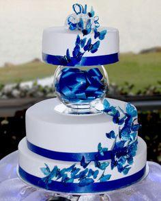 Blue butterflies wedding cake
