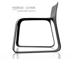 A chair made from a single element in recycled material, created by French designer Judicaël Cornu.
