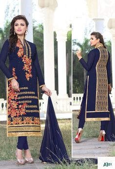 Nevy #Blue #Georgette #Straight Cut #Salwar #Kameez #nikvik  #usa #designer #australia #canada #freeshipping #fashion #dress #suits #sale