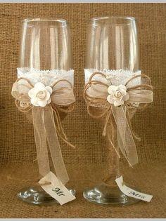 Recepción de flautas de tostado de boda copas por HappyWeddingArt