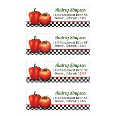 Retro Italian kitchen themed bridal shower mailing labels featuring red tomato and pepper