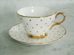 Vintage Shelley China Red Polka Dot Teacup and Saucer